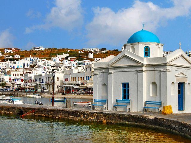 Église Bleue, ville de Mykonos