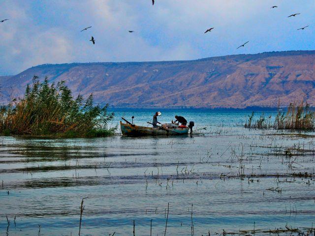 Pêcheurs sur le lac de Tibériade