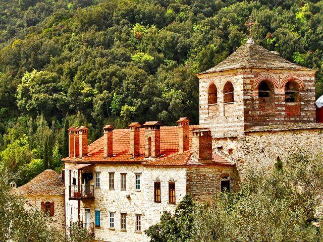 Partie du monastère de Hilandar et clocher