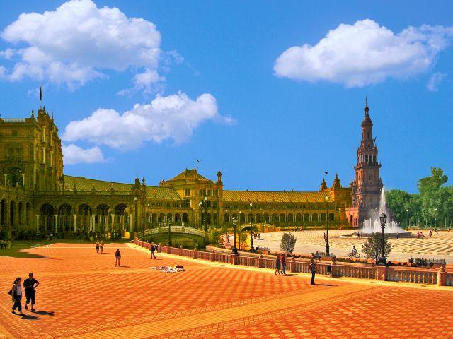 Vue de la Plaza de España, Séville