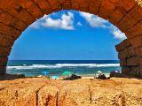 View through Caesarea aqueduct