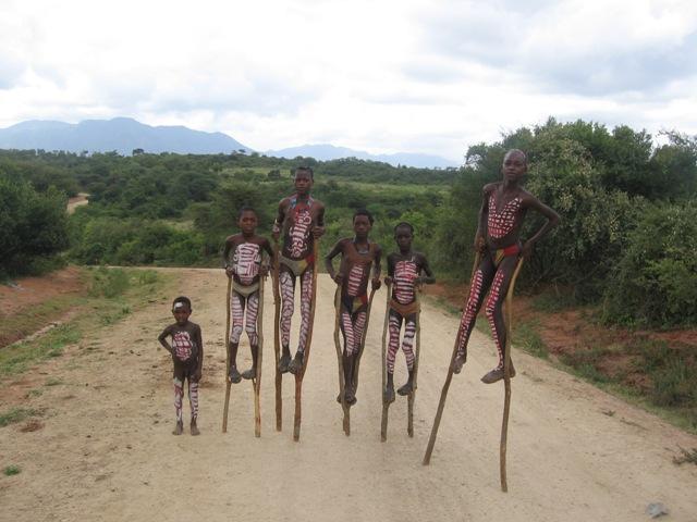 Children on stilts