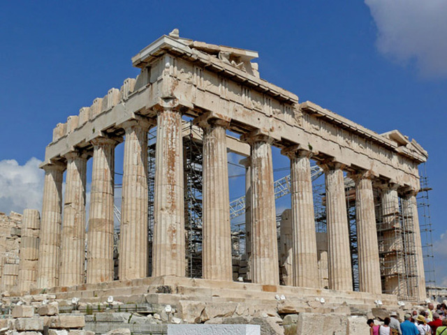 The Parthenon (ancient Greek: Παρθενών), built for the Greek goddess Athena on the Acropolis of Athens