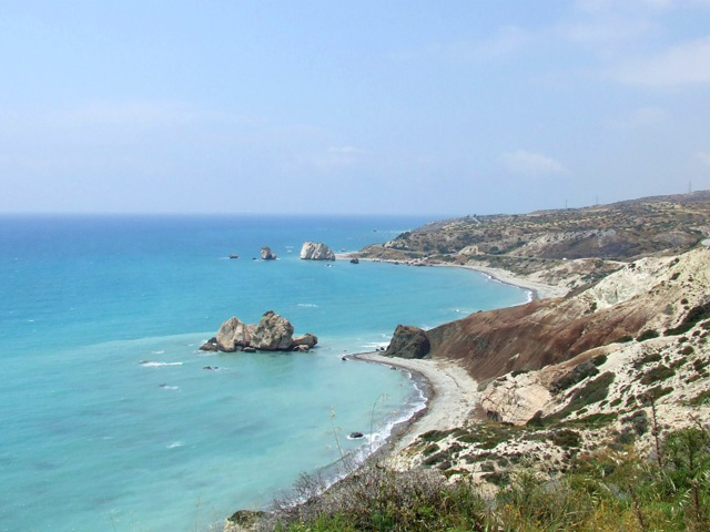 The Petra Tou Romiou (Rock of the Greek), or the Rock Of Aphrodite located off the old Pafos-Lemesos road; according to legends, Aphrodite came from the see exacly in that place, north of Paphos