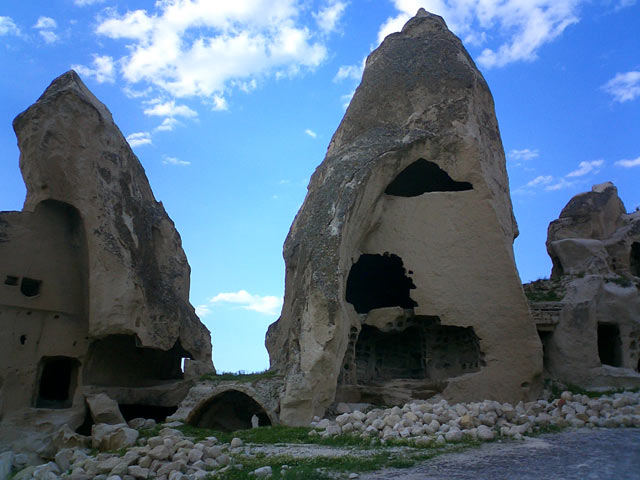 Göreme, located among the fairy chimneys rock formations, town in Cappadocia, Nevşehir Province in Central Anatolia
