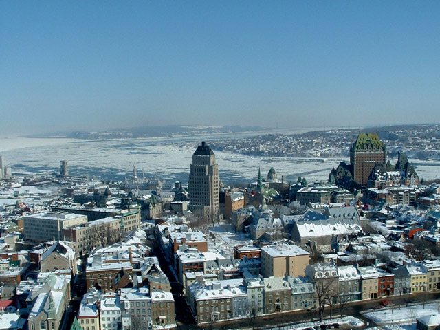 View of Quebec City in winter with the Château Frontenac on the right in the Haute-Ville (Upper Town) - Canada