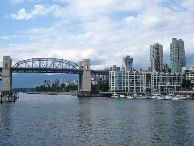 The Burrard Street Bridge, Art Deco, six lane bridge in Vancouver, British Columbia that spans False Creek connecting downtown to Kitsilano
