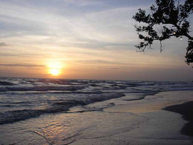 Sunset on White Sand Beach