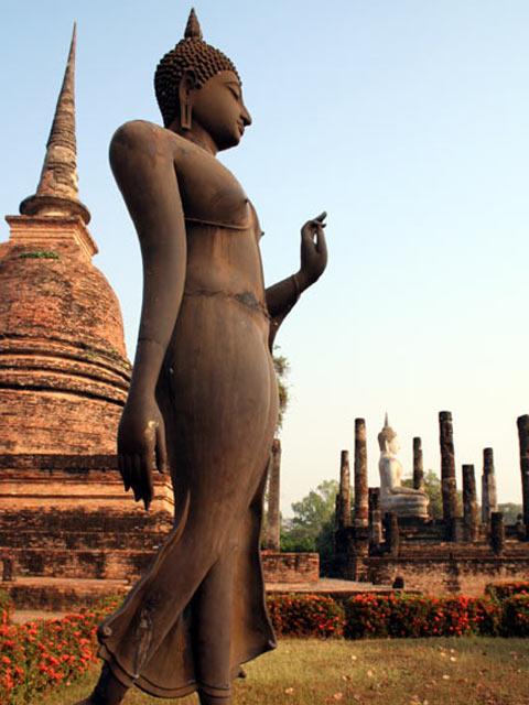 Statue, buddha and columns